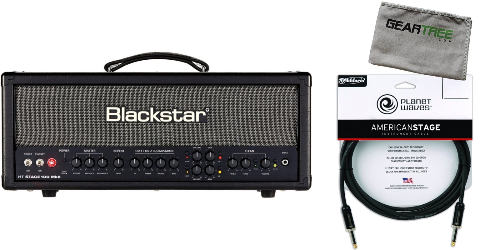 Blackstar STAGE100HMKII 100W GUITAR HEAD w/ Premium Instrument Cable and Geartree Cloth