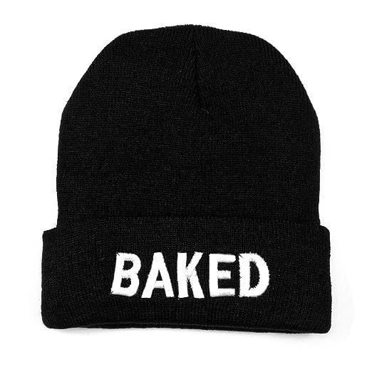 2cef9295c3a2b NYKKOLA Unisex Slouchy Cuff Beanie Skull Knit Hat Cap - Winter Warm Black  Baked Ski Hat