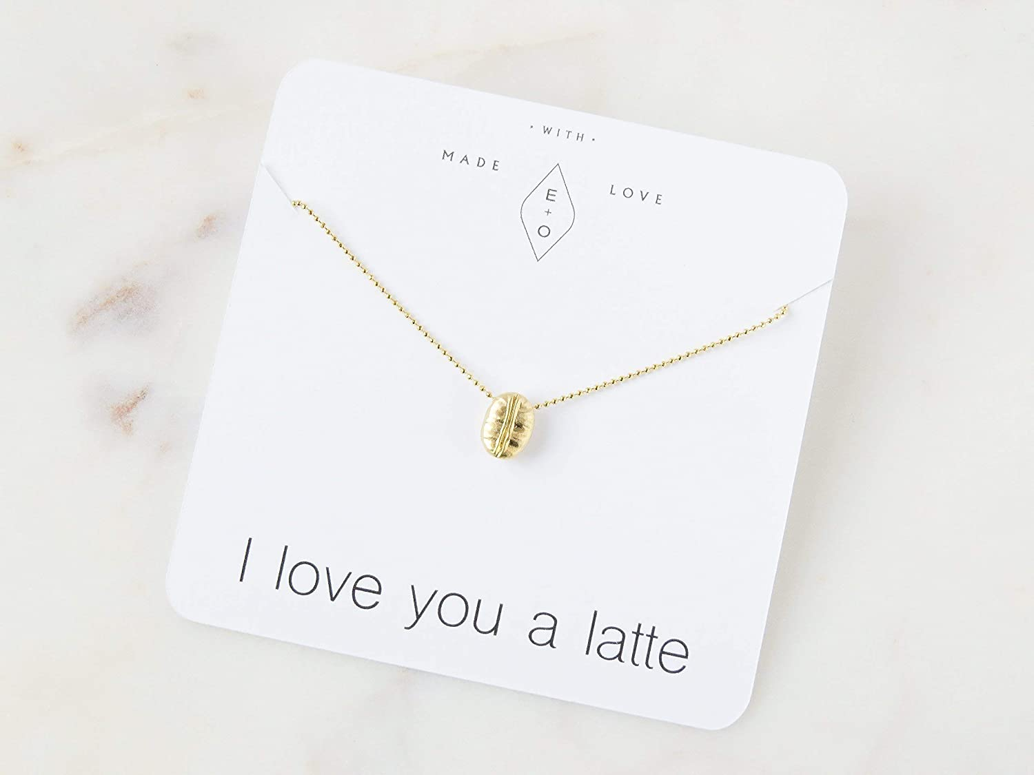Coffee Bean Latte Lover Charm Necklace Gift for Her Gold-Plated 16 Length