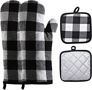 Win Change Oven Mitts and Pot Holders-Oven Mitts and Potholders Soft Cotton Plaid Design Lining Non Slip Oven Mitt Set for Kitchen Cooking Baking Grilling(4-Piece Set,Black/White)