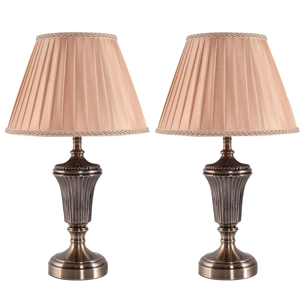 Costzon Bedside Table Lamp, Traditional Elegant Steel Base, Antique Style with Warm Fabric Shade Bulb for Bedroom Living Room Coffee Desk Lamp, Include LED Bulb, Cord (Brass, Set of 2)