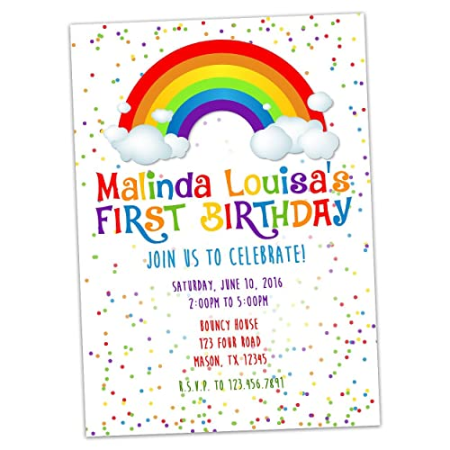 Amazon rainbow birthday invitations girl personalized confetti rainbow birthday invitations girl personalized confetti sprinkles filmwisefo