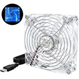 ELUTENG 120mm Fan Cooling Transparent USB Desk Fan with Blue LED Light 5V Ventilation Fan Clear Compatible for Receiver, Rout