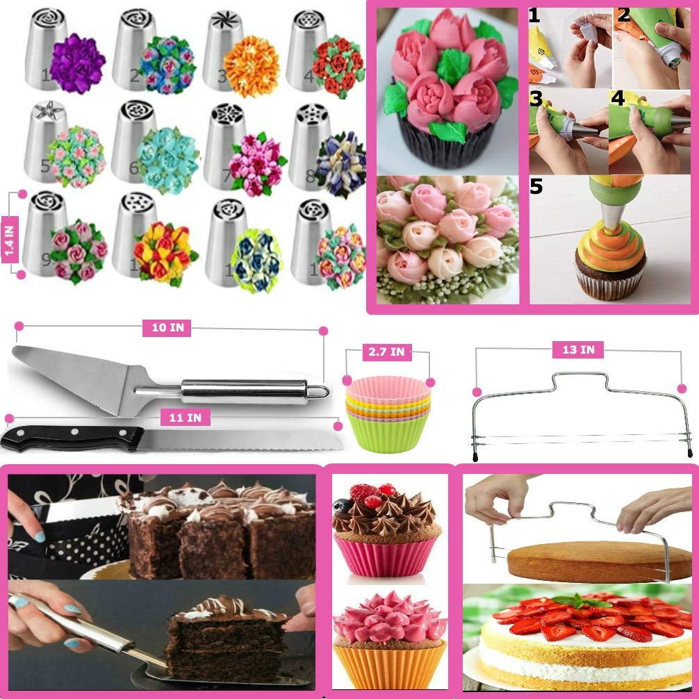 Cake Decorating Supplies - (150 PCS CAKE DECORATING KIT) With Numbered Icing Tips, Tips Chart, Cake Rotating Turntable and More. Create AMAZING Cakes w/this cake set! by Aleeza Cake Wonders (Image #5)