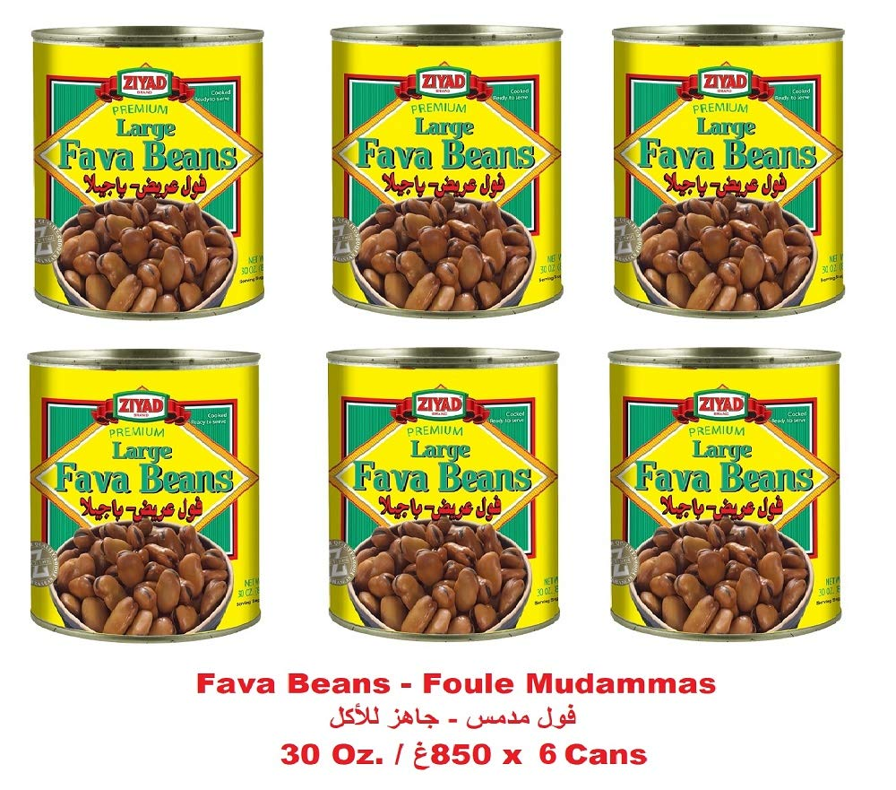 Amazon Com Fava Beans Premium Large 6 Cans Kosher Cooked Ready To Serve 30 Oz فول مدمس فولة عريضة باجيلا 850غ Grocery Gourmet Food