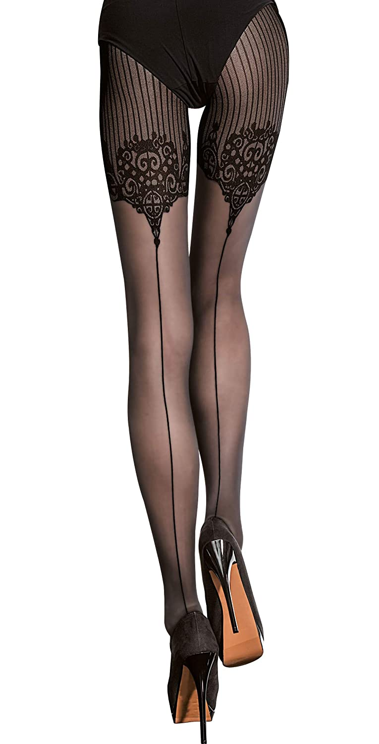 a720d8b248 Fiore Luxury Super Fine 40 Denier Seamed Patterned Tights (Large ...
