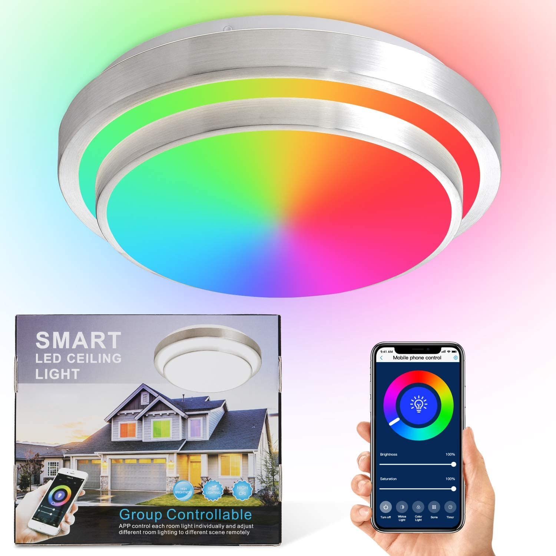 Smart Ceiling Light,Smart Lighting,Alexa Ceiling Light,LED Ceiling Light Fixture Color Alexa Enabled Ceiling Light Fixture,Wifi Ceiling Light Compatible Alexa and Google Home,Alexa Light 13