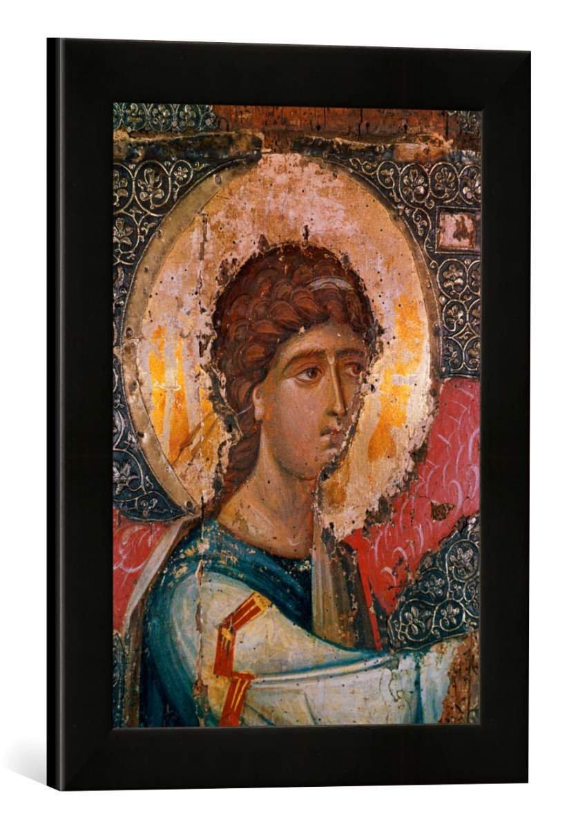 Gerahmtes Bild von AKG Anonymous Erzengel Gabriel/Ikone, Kunstdruck im hochwertigen handgefertigten Bilder-Rahmen, 30x40 cm, Schwarz matt