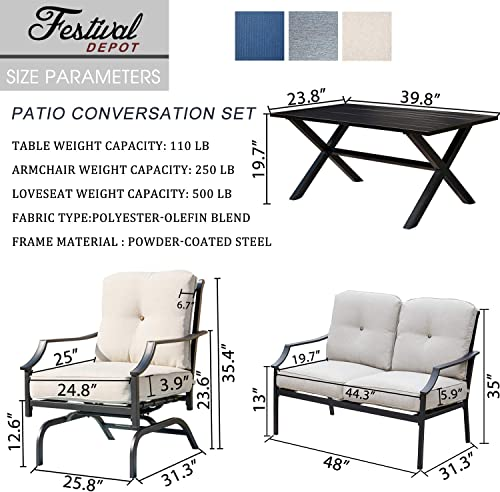 Festival Depot 4 Pieces Patio Conversation Set Outdoor Armchairs Loveseat Set