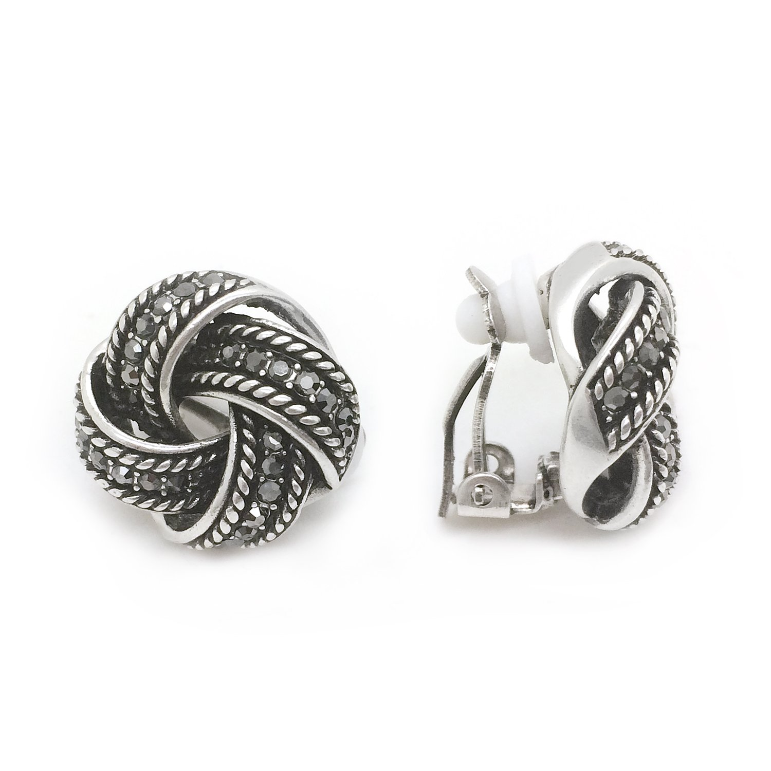 Clip On Earrings Love Knot Black Crystal Antique Braided Women Fashion