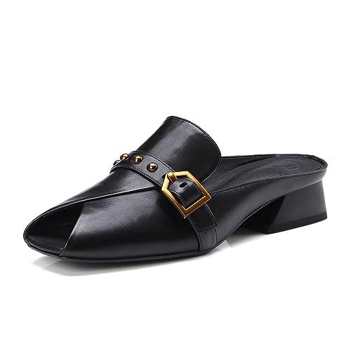 Zapatos de Mujer de Cuero 2018 Spring Summer Flat Mocasines Zapatillas Slip-Ons y Mocasines