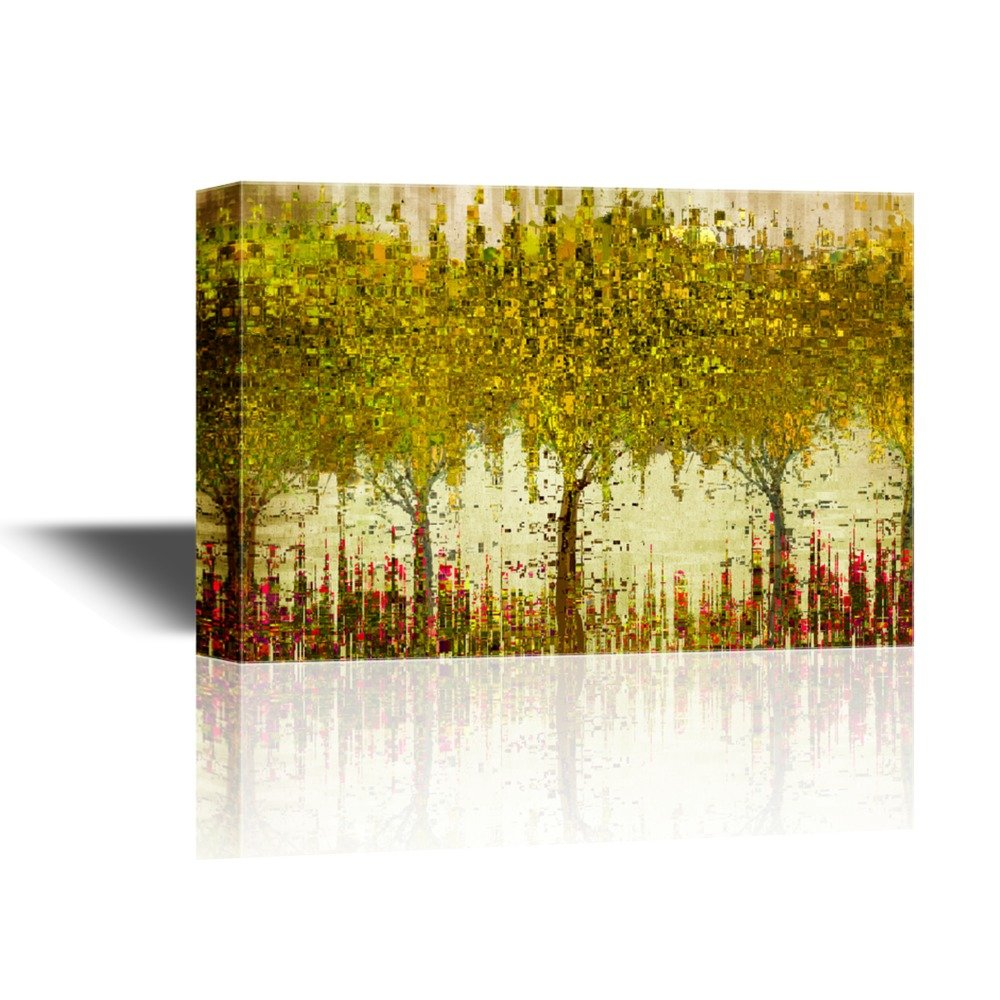 Abstract Glitter Golden Trees with Red Flowers Gallery - Canvas Art ...