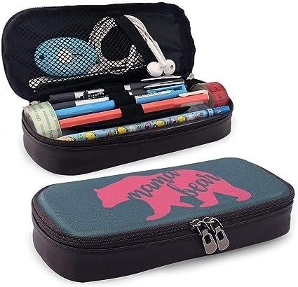 Pink Mama Bear Estuche de cuero para lápices Estuche grande con cremallera para oficina escolar: Amazon.es: Oficina y papelería