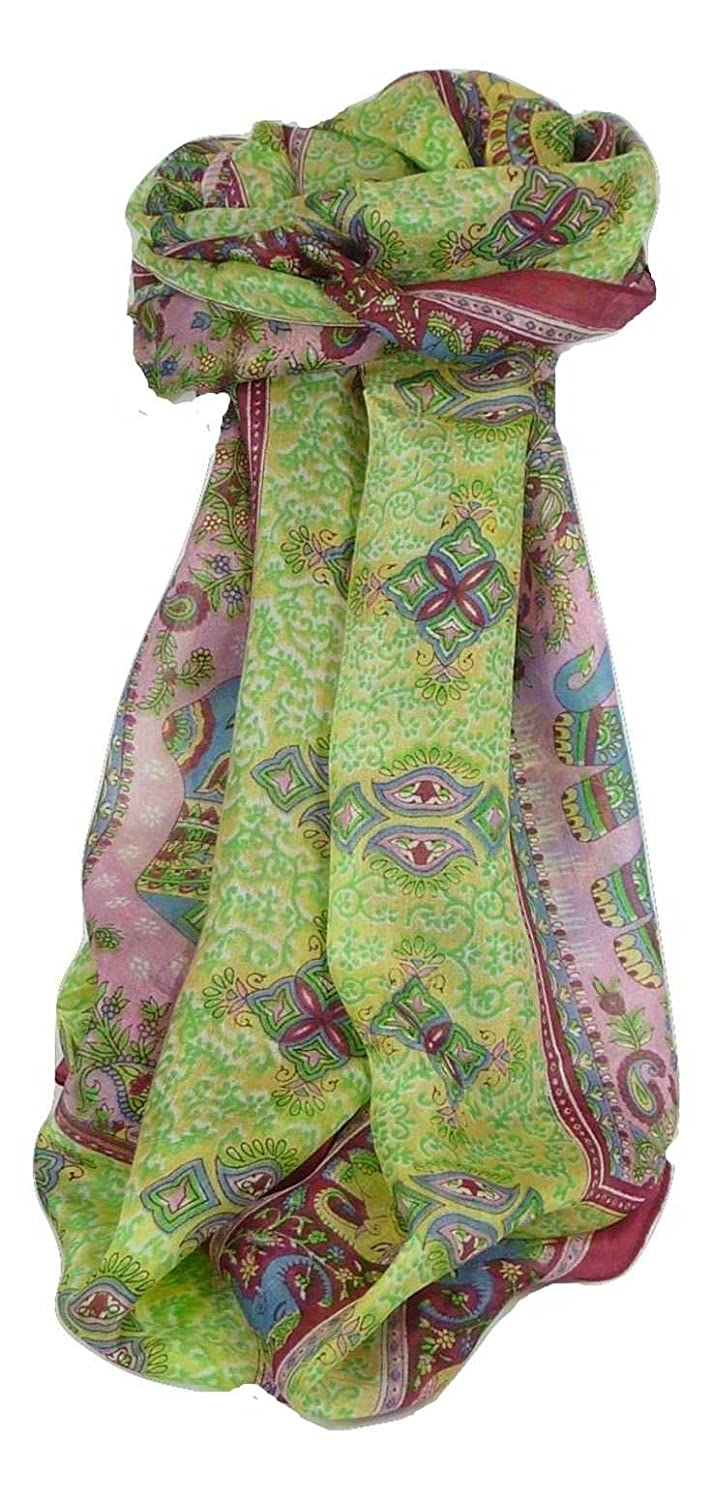 Classic Range Paisley Long Scarf 100% Mulberry Silk Golla Hibiscus from Pashmina & Silk