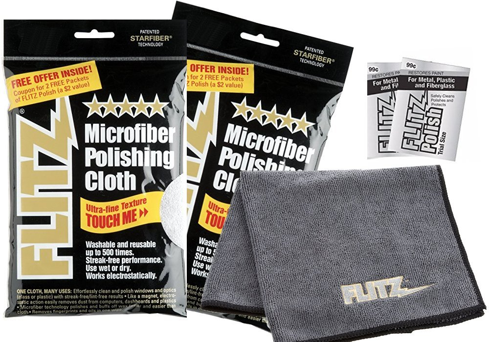 Flitz MC200 2-Pack LARGE 16' x 16' Microfiber Polishing Cloth/Towel with 2 Token Flitz 2gr mini packs metal polish