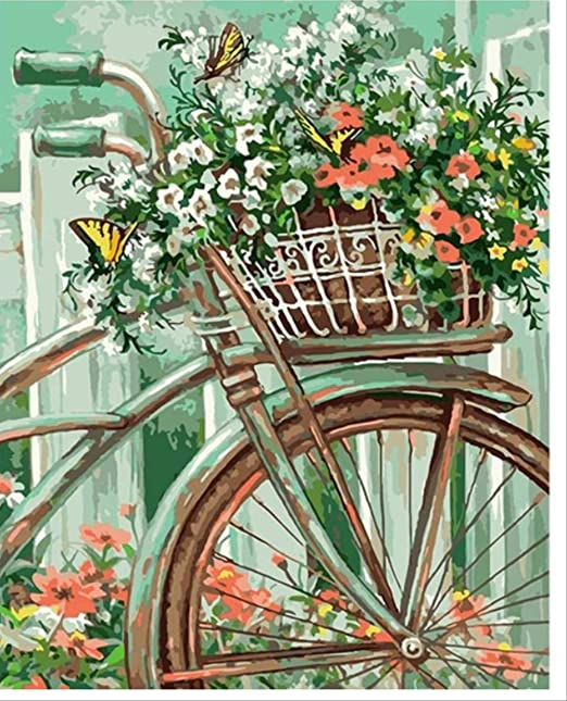 zhkn Pintura Al Óleo De Bricolaje por Números Cuadros De Bicicleta ...
