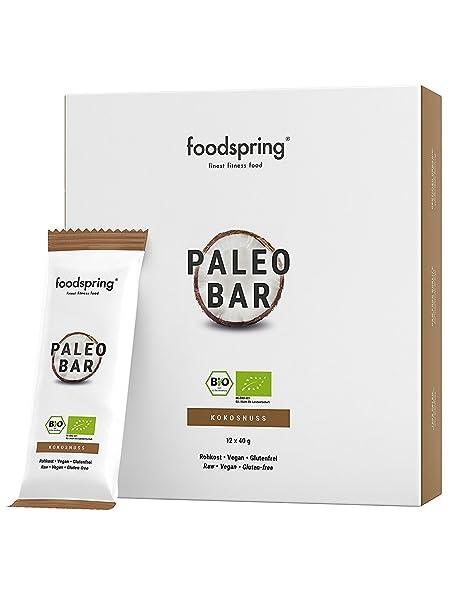 foodspring Orgánica Paleo Bar pack de 12, Coco, Tal y como todas las barritas