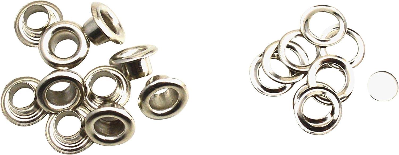 cobre Hole Diam:20mm,barrel length:7mm,30Sets Ojales con arandela Wuuycoky Silvery
