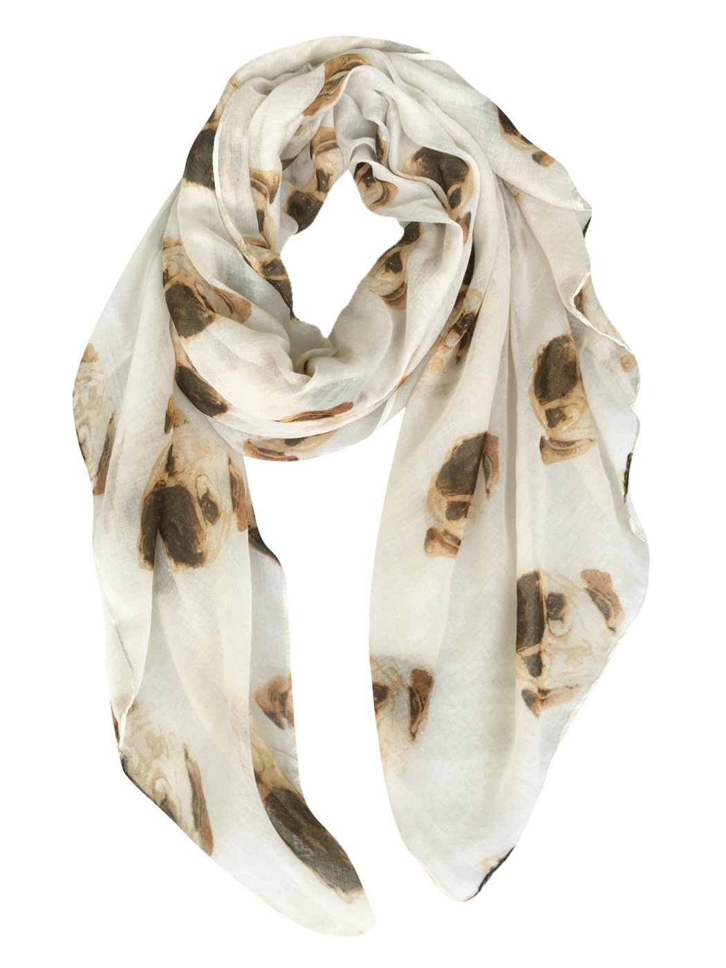 GERINLY Animal Print Scarves: Cute Dogs Pattern Voile Oblong Scarf (Beige)
