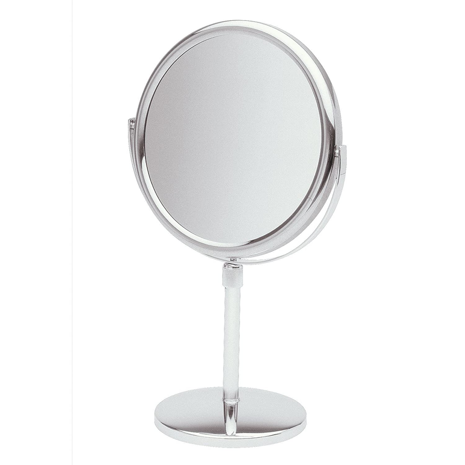 Jerdon JP4045N 9-Inch Tabletop Two-Sided Swivel Vanity Mirror with 5x Magnification, 16.5-Inch to 21.5-Inch Adjustable Height, Nickel Finish