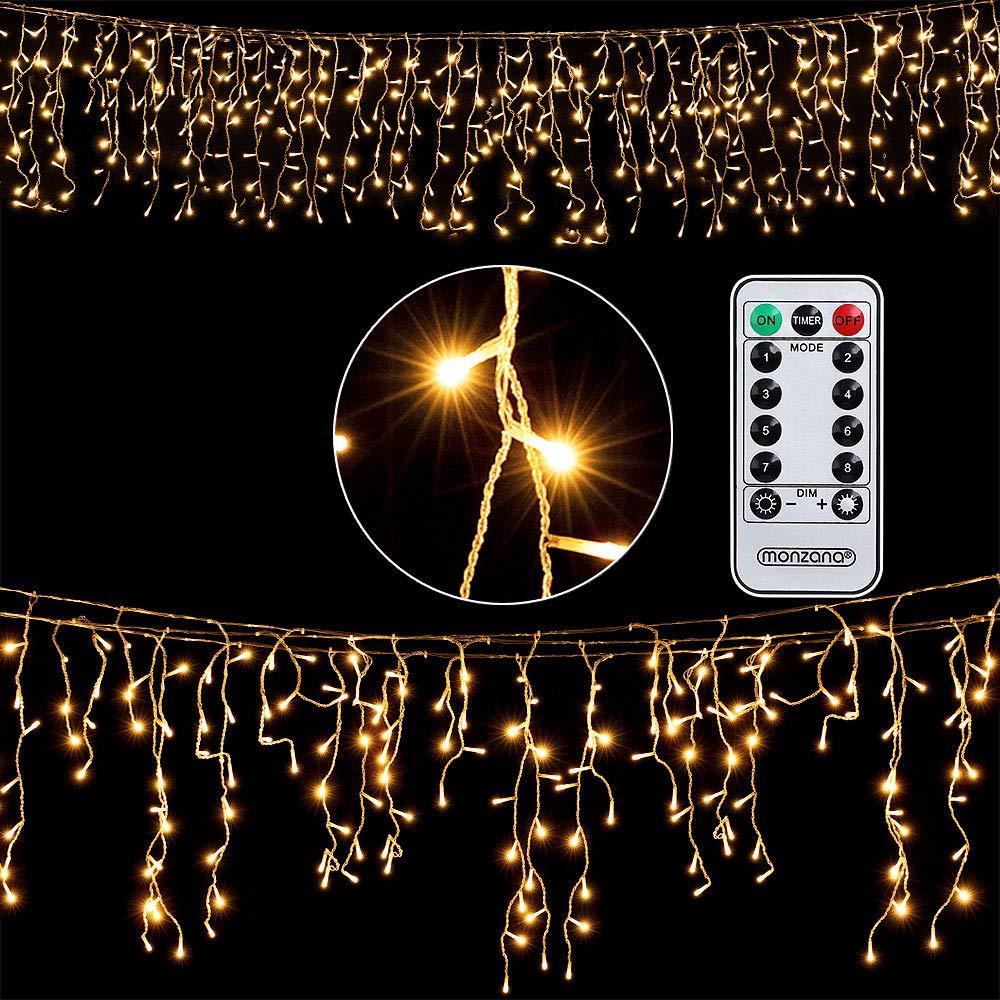 Deuba Regenlichterkette 600 LED I warm-wei/ß I inkl Fernbedienung I 8 Leuchtmodi I Timer I Dimmbar I In /& Outdoor Regenkette Lichterkette