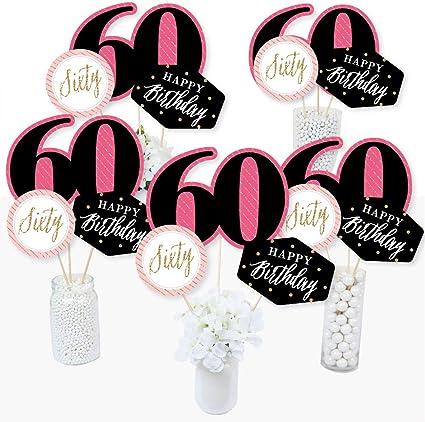 Amazon.com: Chic 60th cumpleaños – rosa, negro y dorado ...