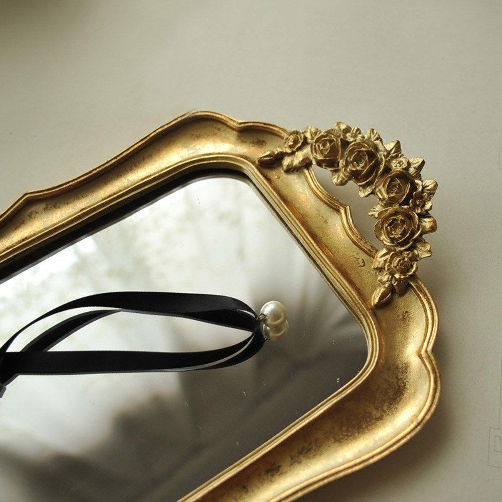 14x8inch AMYSDREAMSTORE Bandeja de Joyas de Oro,Retro Rose Oro Resina mirroreddecorative bandejas Porta Bandeja de la exhibici/ón de la joyer/ía Vintage con Espejo con Mango-A 35x21cm