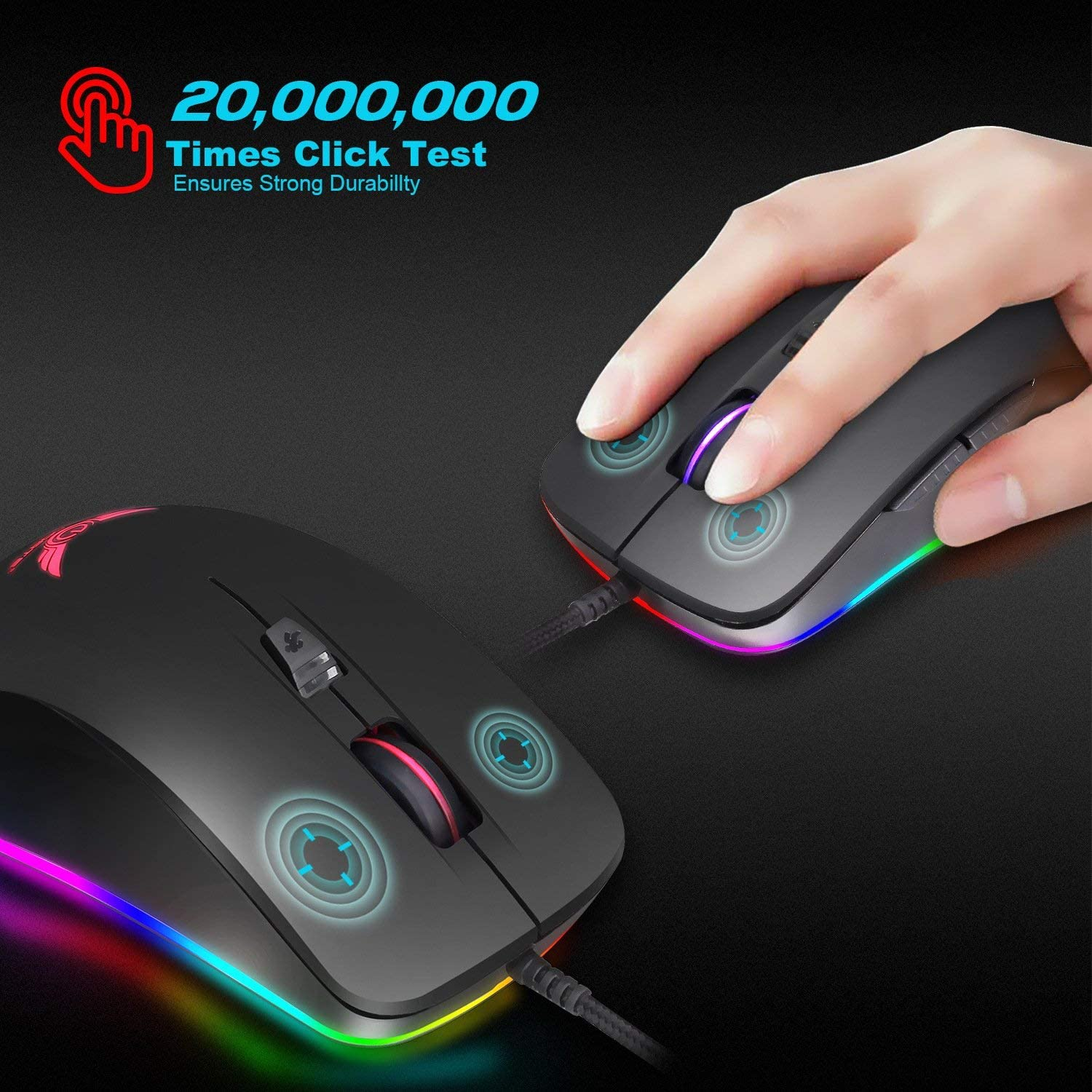 6 Buttons Black Optical Gaming Mouse Wired Ergonomic Mice with Setting DPI Show Time:Gaming Mouse Extra Weight for PC Laptop Desktop Notebook