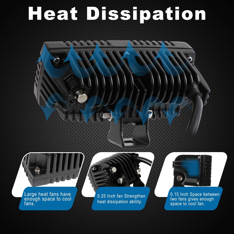 4X4 Remorque Affleurante pour Bateau Ip67 /Éclairage de Conduite de Brouillard /Étanche AAIWA Barre Lumineuse LED 2 Cosses 40W LEDs Jeeps Mini Lampe de Travail pour Tout-Terrain Camion