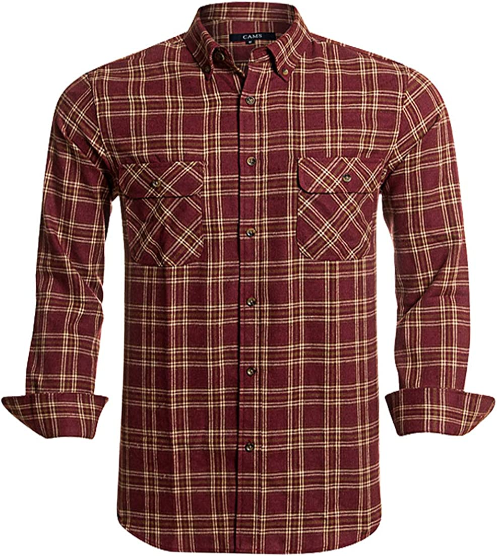 Flannel Shirts for Men Plaid Regular Fit Long Sleeve Button Down Mens Flannel Shirts