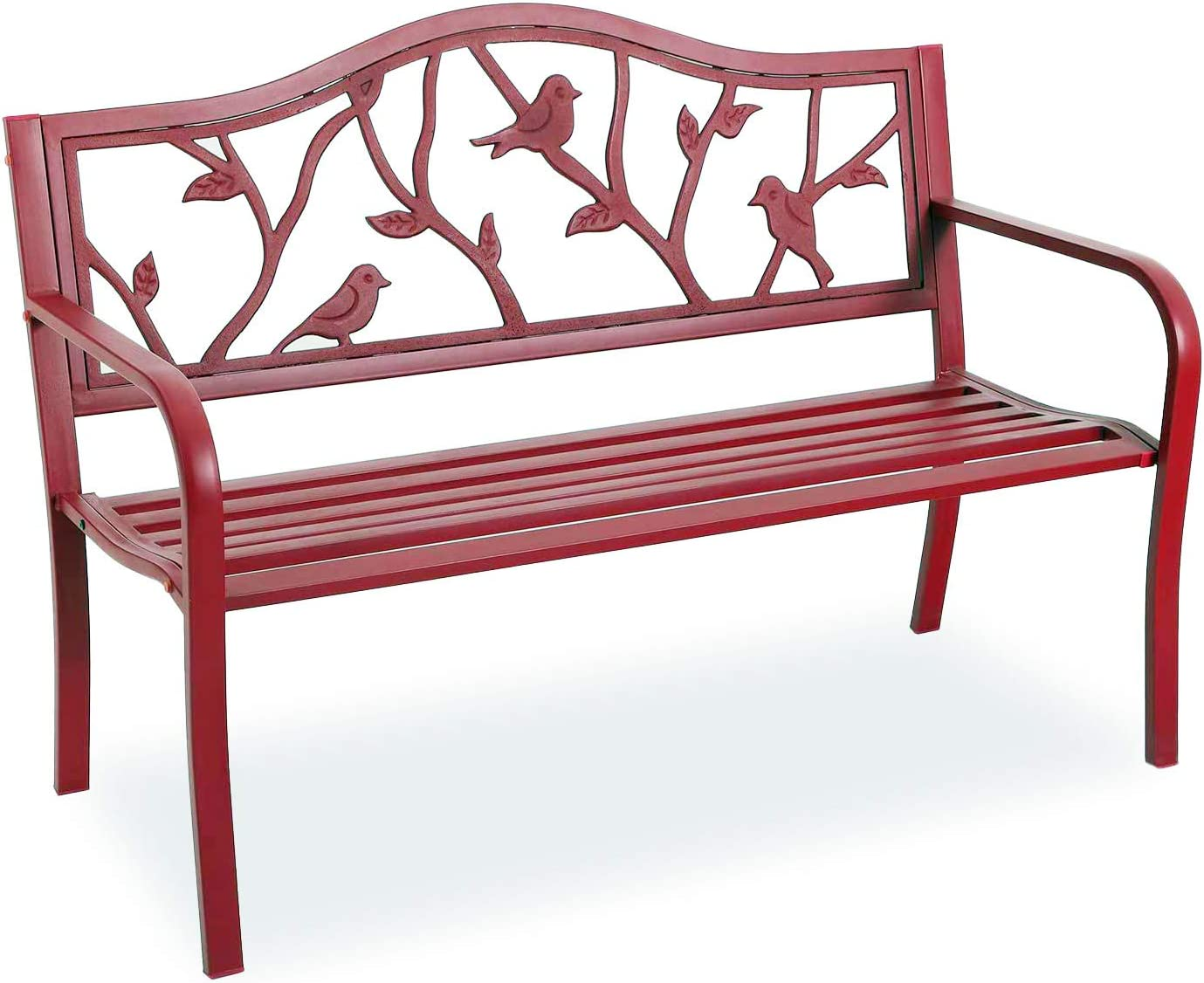 """PHI VILLA Outdoor Garden Bench, 50"""" Steel Long Red Patio Bench for Yard, Lawn, Balcony, Porch, Red Bird Modern Bench with Backrest and Armrests"""