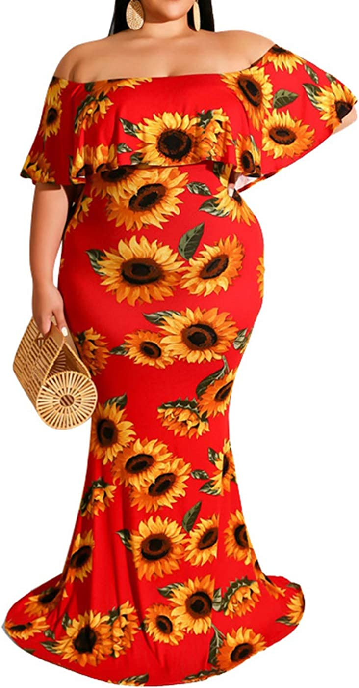 Womens Plus Size Vintage Ruffle Floral Printed Off Shoulder Bodycon Long Party Maxi Dress