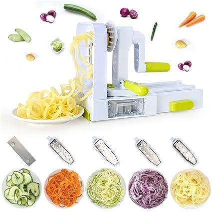 Espiralizador Verduras con 5 Cuchillas - XINFANGXIU Cortador de Verduras en Espiral de 5 Cuchillas de