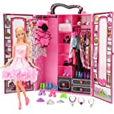 Barwa Fashion Closet Wardrobe 42 Pcs Doll Clothes Sets for 11.5 Inch 30CM Girl Doll with 5 Pack Dresses Clothes 37 Pcs Different Shoes Hanger Necklace Doll Accessories Xmas Gift