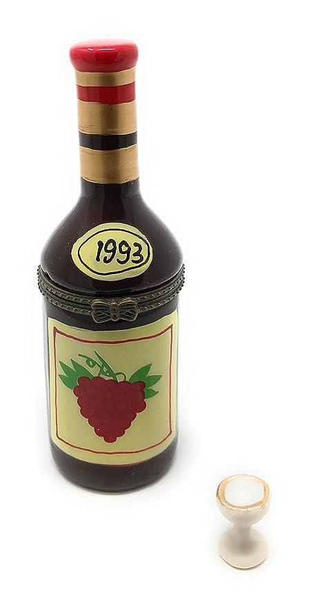 Amazon.com: Botella de vino caja joyero, tapa con bisagras ...