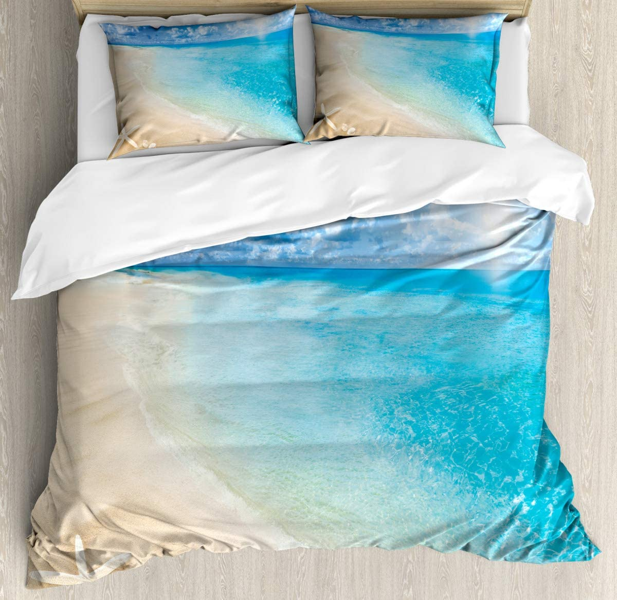 """Super Soft Cover quiltSunny Seashore and Shells Duvet Cover SetSuper Soft Bedding Set and Easy Care86 x102/19""""x29""""inch"""