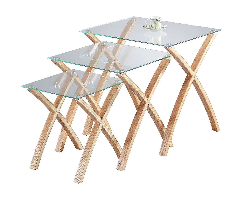 Aspect Miami Lot de 3-3-3 gigognes Table en verre trempé - pieds en bois massif – Clair-chêne - bois clair -