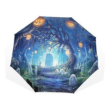 leisisi Halloween cementerio personalizado moda paraguas resistente al viento plegable viaje compacto paraguas, XHS-