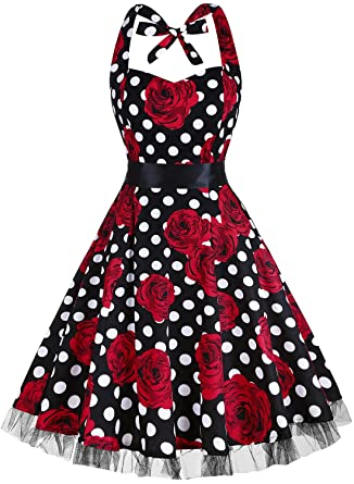 50s Costumes | 50s Halloween Costumes 1950s Floral Sping Retro Rockabilly Cocktail Swing Tea Dresses OTEN Womens Vintage Polka Dot Halter Dress  $25.99 AT vintagedancer.com