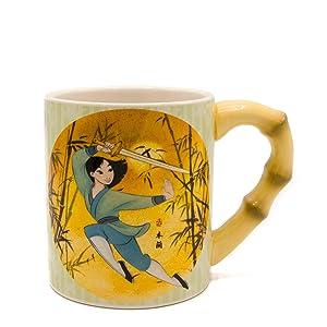 Silver Buffalo DP1329E5 Disney Mulan Mug with Bamboo Circle and Shaped Handle, 20-Ounce, Green
