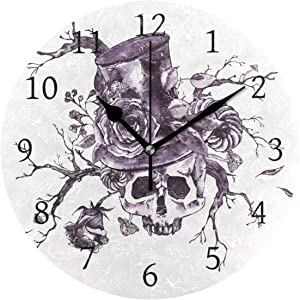 AHOMY Round Wall Clock Skull Twigs Rose Vampire Hat Home Art Decor Non-Ticking Numeral Clock for Home Office