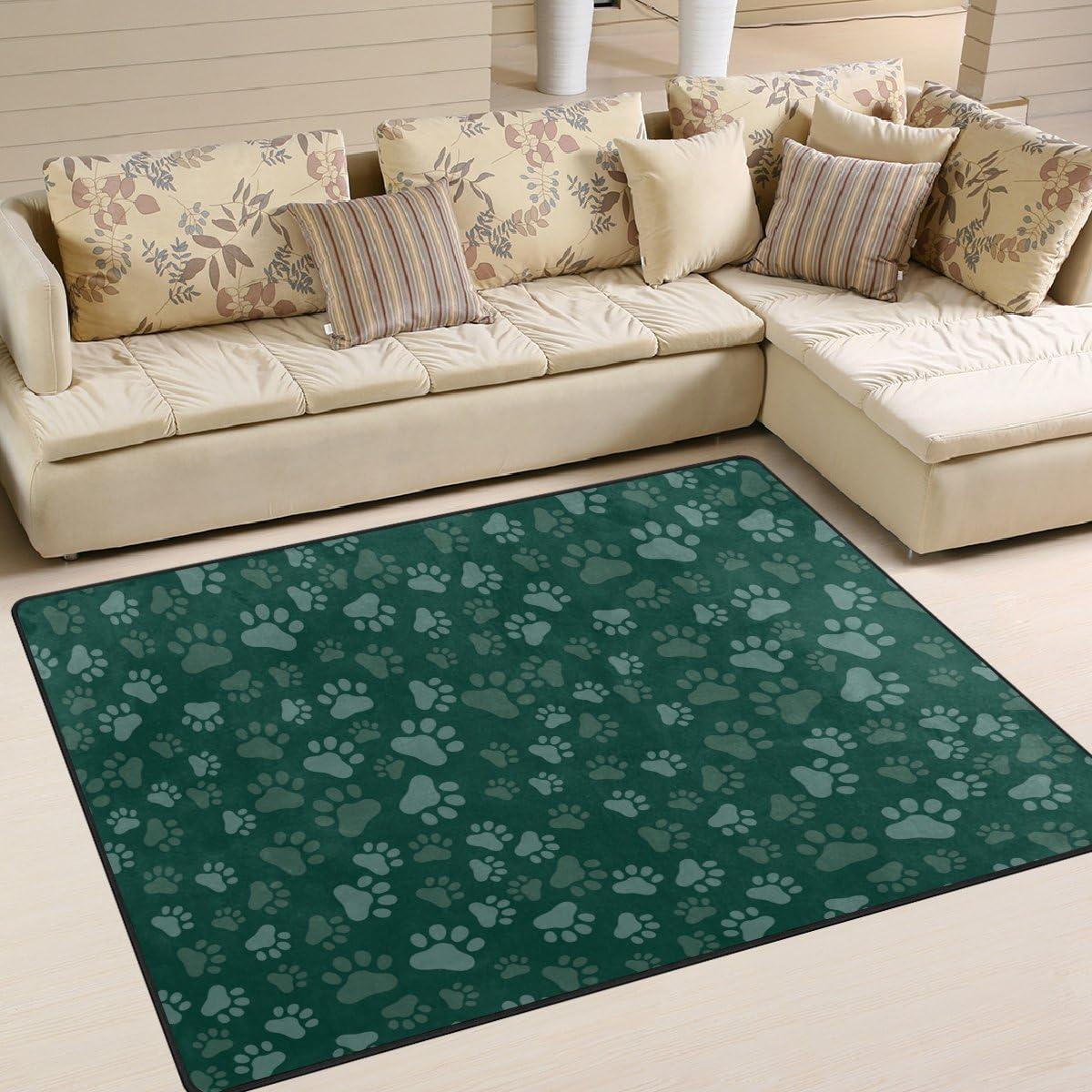 SAVSV Dog Paw Print Printed Large Area Rugs,Lightweight Floor Carpet Use