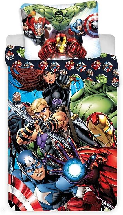 Copripiumino Singolo Avengers.Jerry Fabrics Set Copripiumino Per Letto Singolo Motivo Marvel