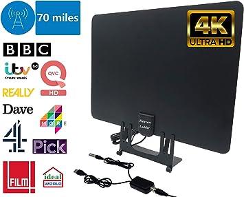 Antena de TV y amplificador de antena, antena delgada de TV Freeview 4K Full HD 70