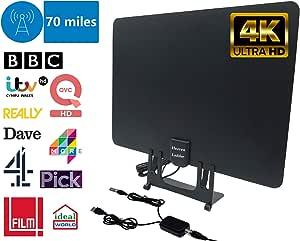 Antena de TV y amplificador de antena, antena delgada de TV Freeview 4K Full HD 70 millas de alcance Televisor interior Soporte para UHF / VHF / FM y DVB-T / DVB-T2 /
