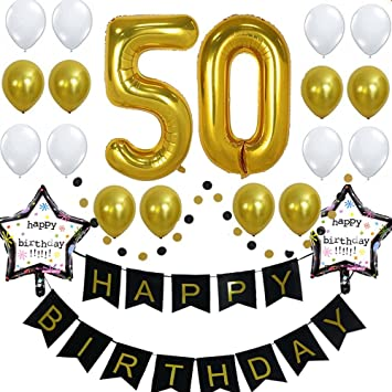 Amazoncom 50th Birthday Party Decorations With 40inch Gold Number