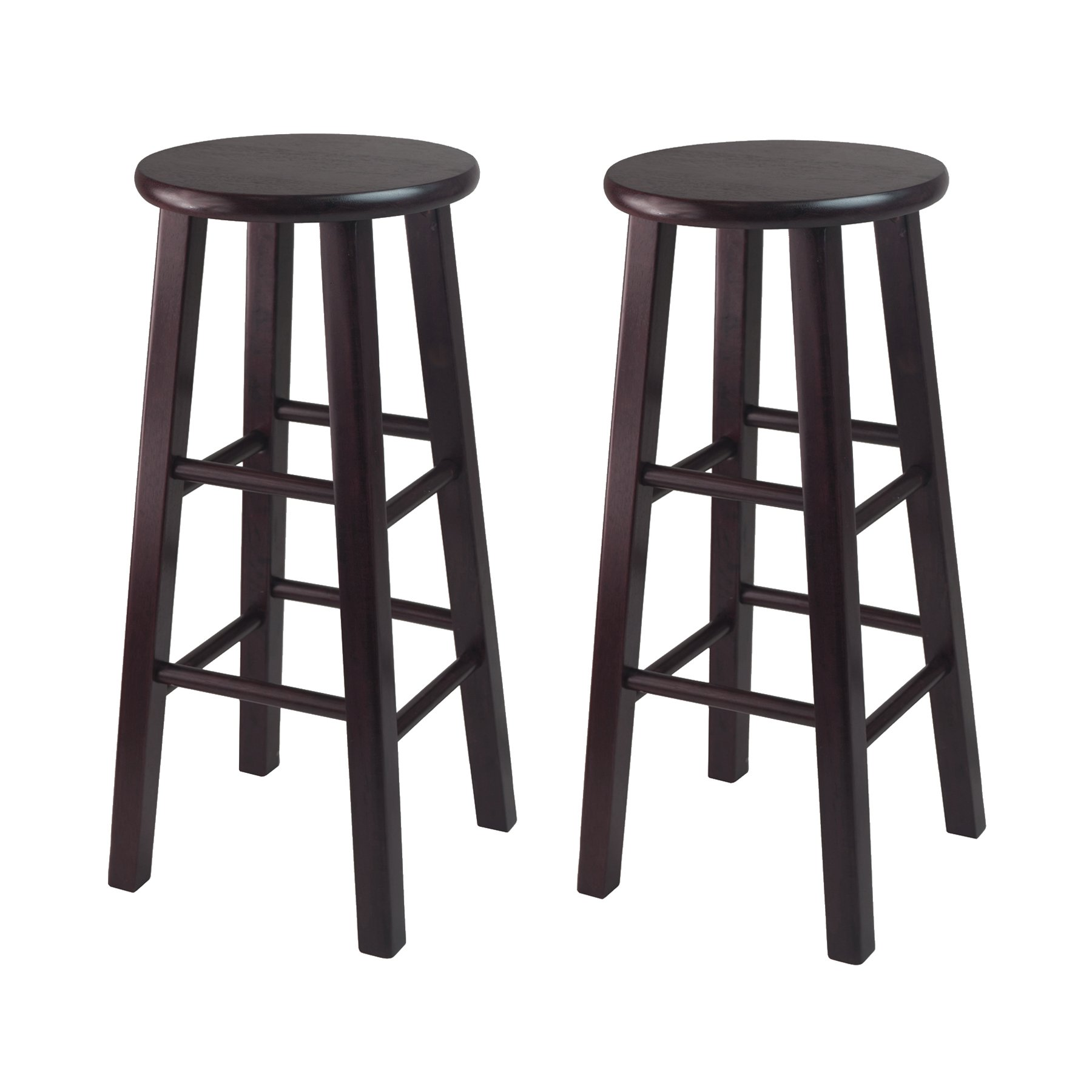 Winsome Bar Stool with Square Legs, 29-Inch, Espresso, Set of 2