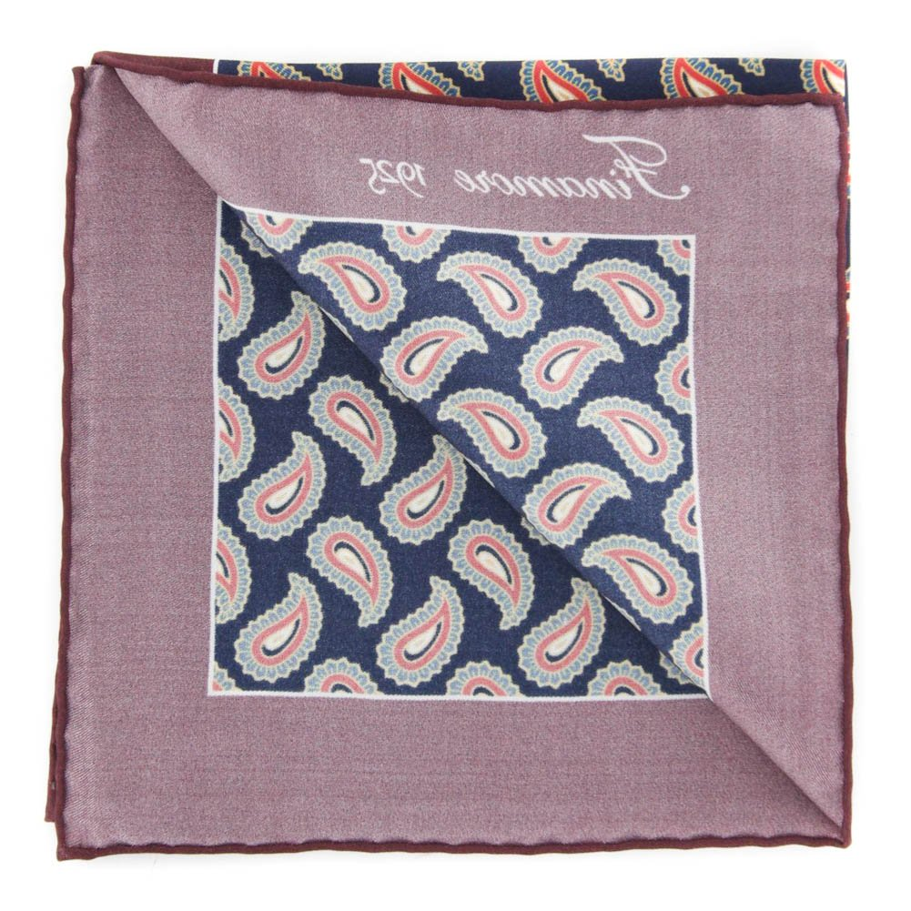 13 x 13 New Finamore Napoli Burgundy Red Paisley Pocket Square