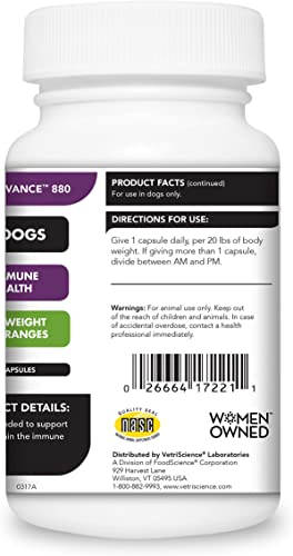 VETRISCIENCE Laboratories – Cell Advance 880, Immune Health Supplement for Dogs Over 30 Pounds, Antioxidant Support, 120 Capsules