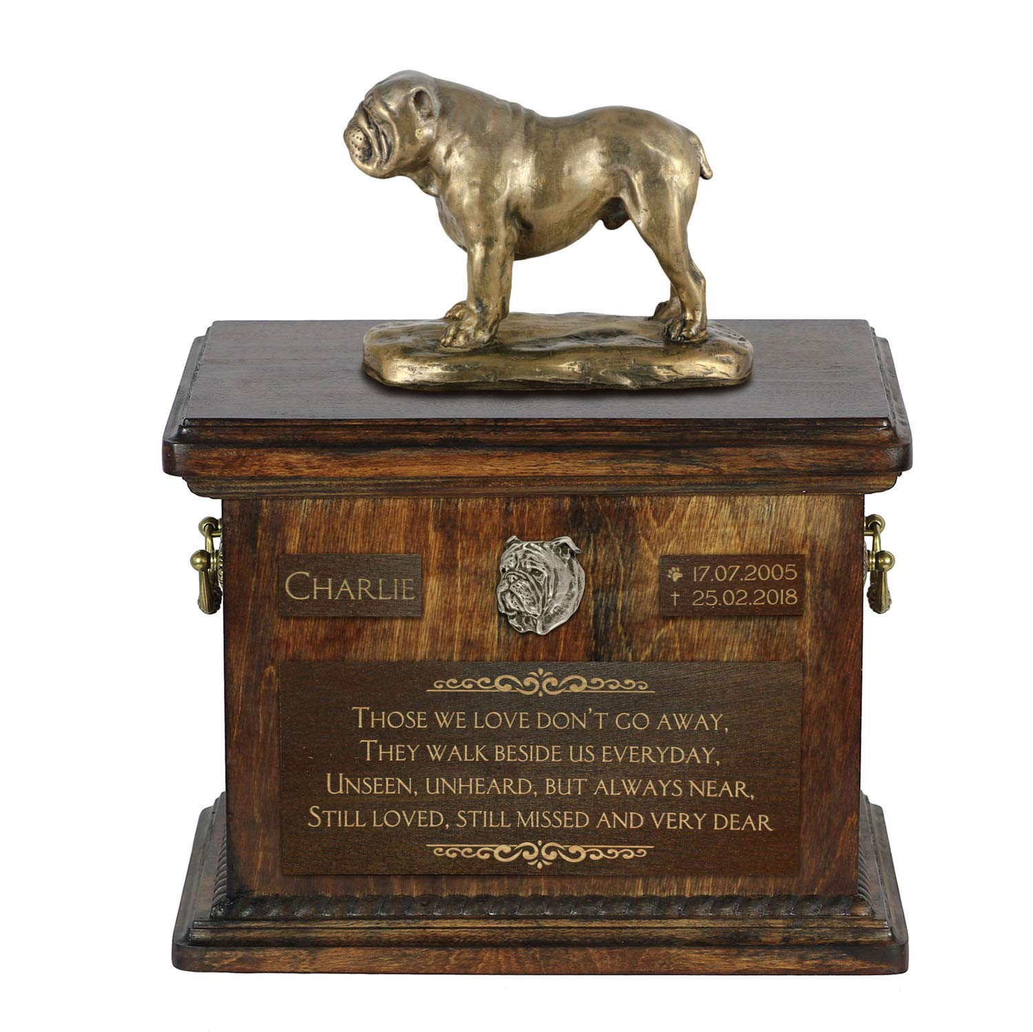 English Bulldog, Urn for Dog Ashes Memorial with Statue, Pet's Name and Quote ArtDog Personalized